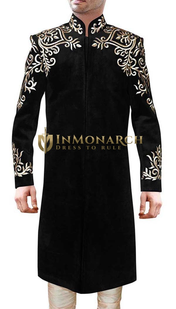 Debonair Black Groom Sherwani