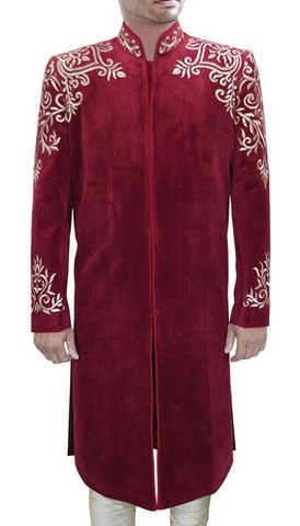 Mens Maroon 2 Pc Sherwani Traditional Gold-Embroidered