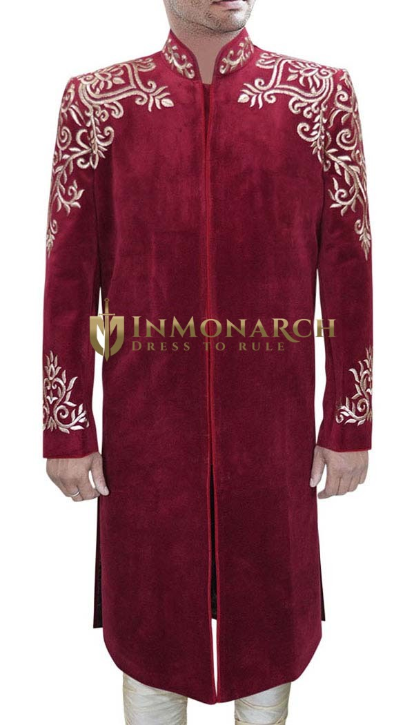 Traditional Gold-Embroidered Merlot-Red Sherwani