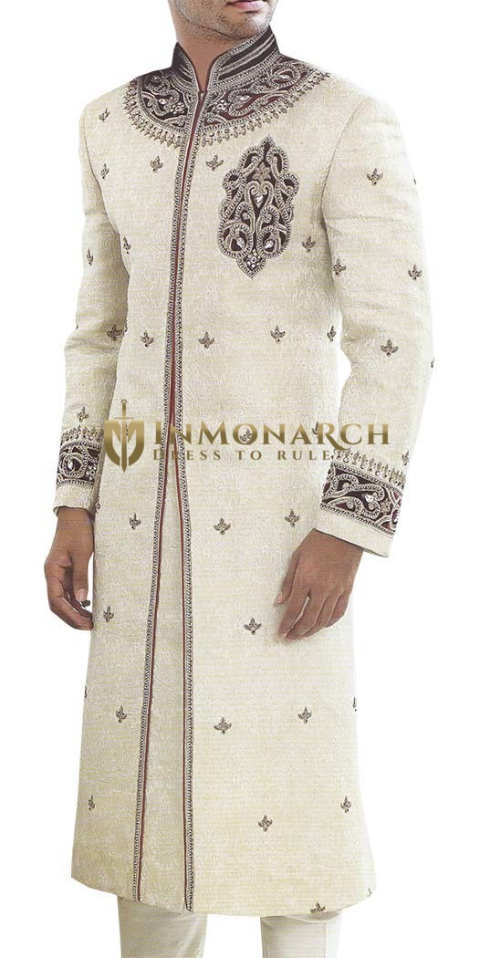 Mens Sherwani Cream Wedding Sherwani Cut Work mens Indian Suit