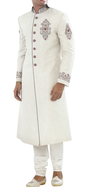 Distinctive White Groom Sherwani
