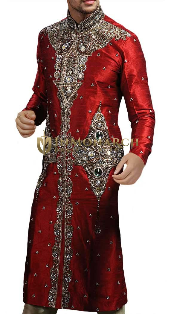 Red Silk Hand Embroidered Wedding Luxurious and fashionable Sherwani for Groom