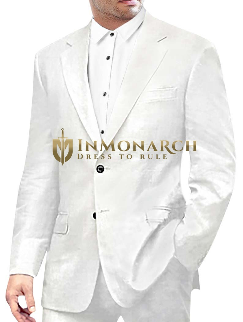 Mens White 2 Pc Linen Suit Classic Style Two Button