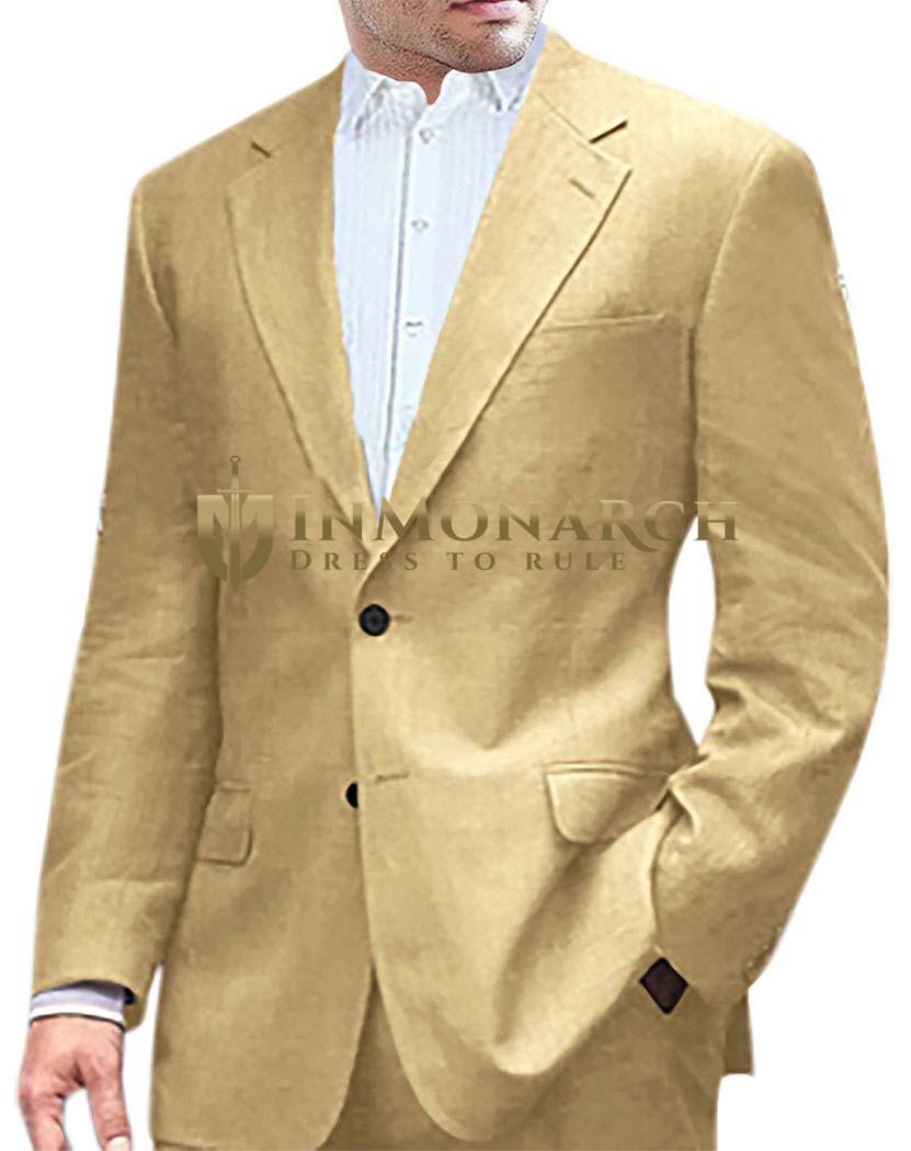 Mens Golden Two Button Linen Suit