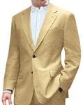 Mens Tan Linen Suit Classic Two Button Style