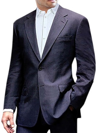 Mens Navy Blue Linen Suit Two Button