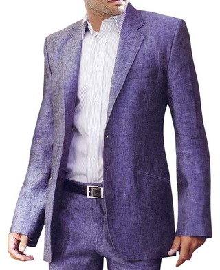 Mens Purple Linen 2 Pc suit Two Button Partywear