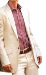 Mens Ivory Linen 2 Pc Suit Two Button Peak Lapel