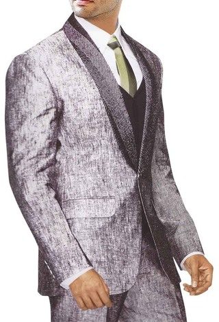 Mens Gray Linen 5 Pc Suit Bollywood Two Button