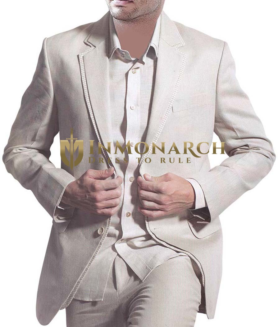 Mens Natural Linen 3 Pc Suit Wedding