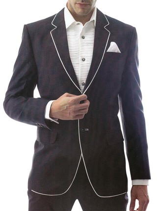 Mens Black Linen 3 Pc Suit Royal Two Button