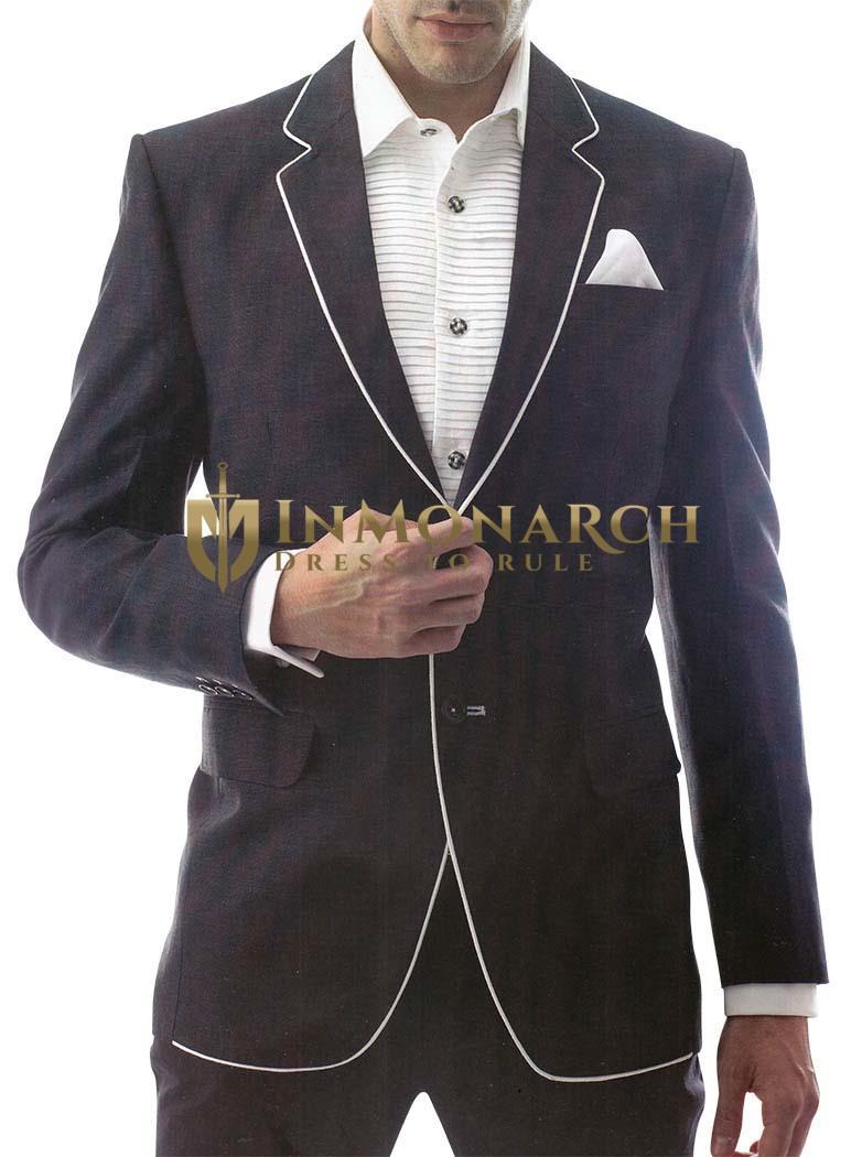 Mens Black Linen 3 Pc Suit Royal Two Button