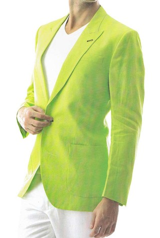 Mens Green Linen Blazer 2 Pc Suit One Button