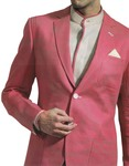 Mens Pink Linen 4 Pc Wedding Suit