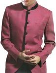 Mens Pink Linen 2 Pc Suit Nehru Collar