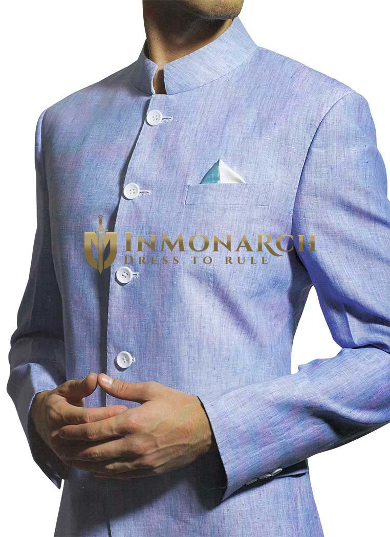 Mens Sky blue Linen Suit Traditional Wedding