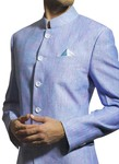 Mens Sky blue Linen 2 Pc Suit Traditional Wedding