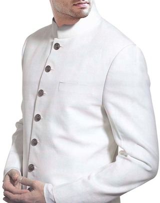 Mens White Linen 2 Pc Suit Nehru Collar