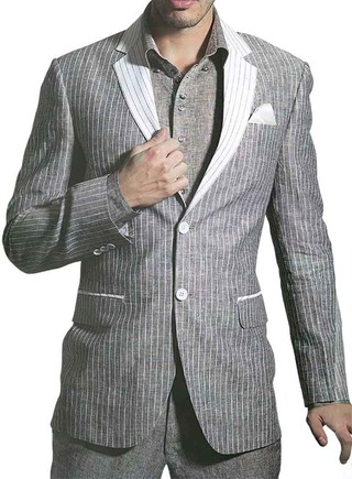 Mens Gray Lining Linen 4 Pc Suit Wedding