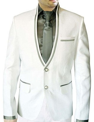 Mens White Linen 4 Pc Suit Two Button V Neck
