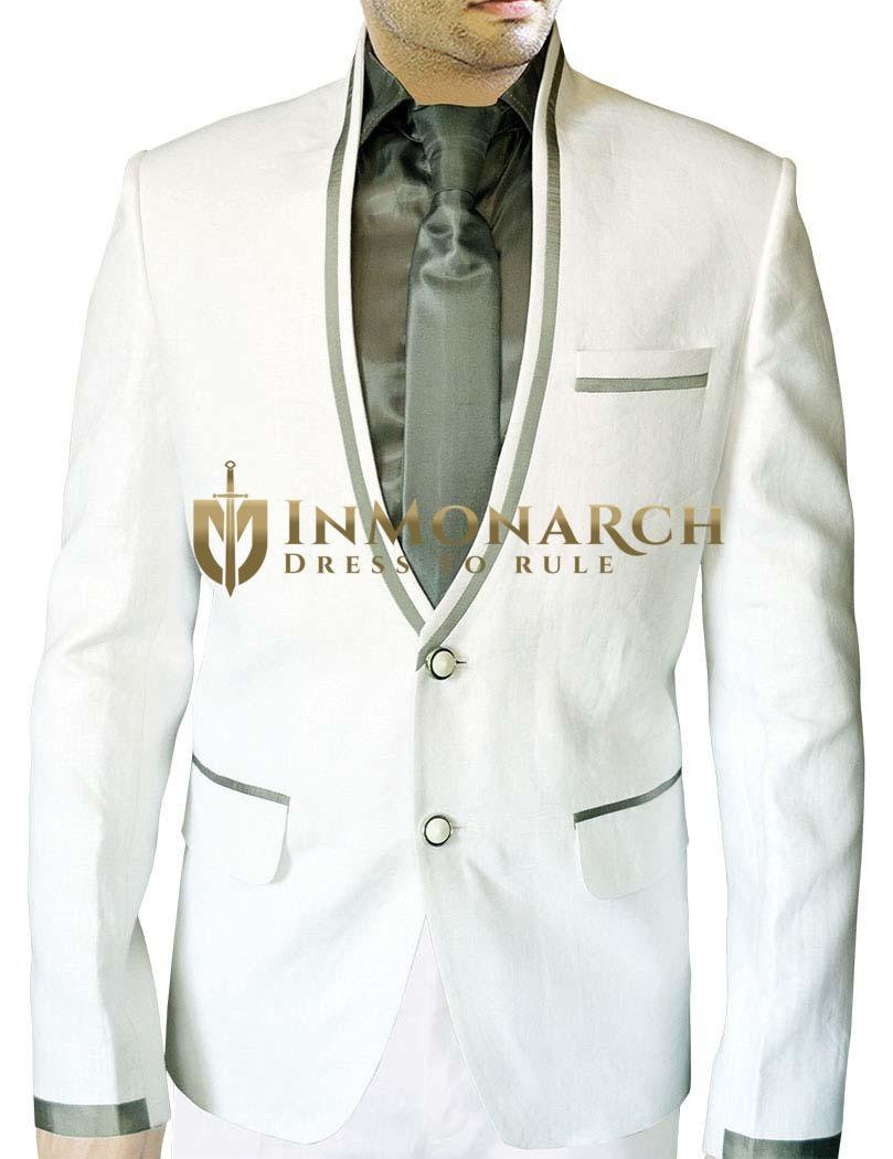 Mens White Linen 4 Pc Suit Two Button V Neck
