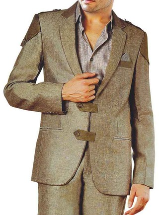 Mens Olive Drab Linen 4 Pc Suit Hunting Style