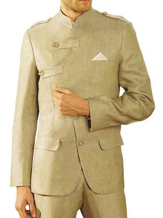 Mens Tan Linen 3 Pc Suit Royal Wedding