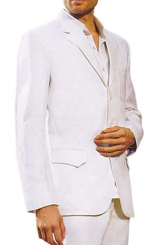 Mens White Linen 3 Pc Suit Notch Lapel