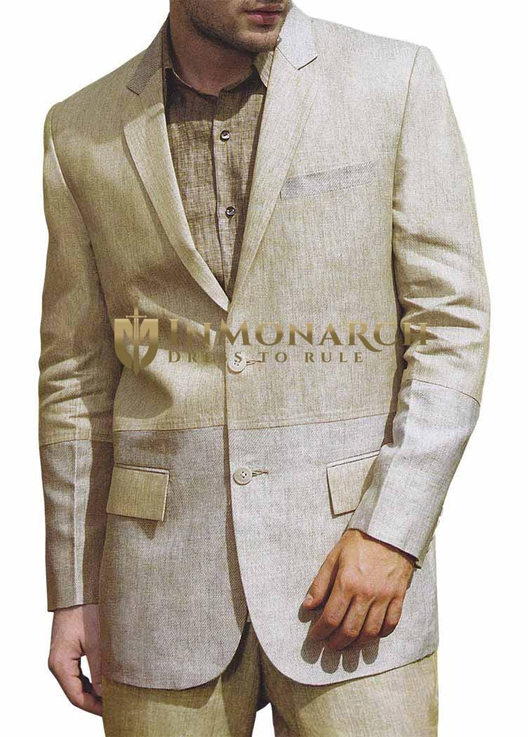 Mens Green Linen 3 Pc Suit Two Button