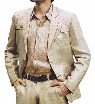 Mens Tan Linen Suit 3 Pc Designer