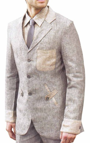 Mens Beige Linen 4 Pc Suit 3 Button