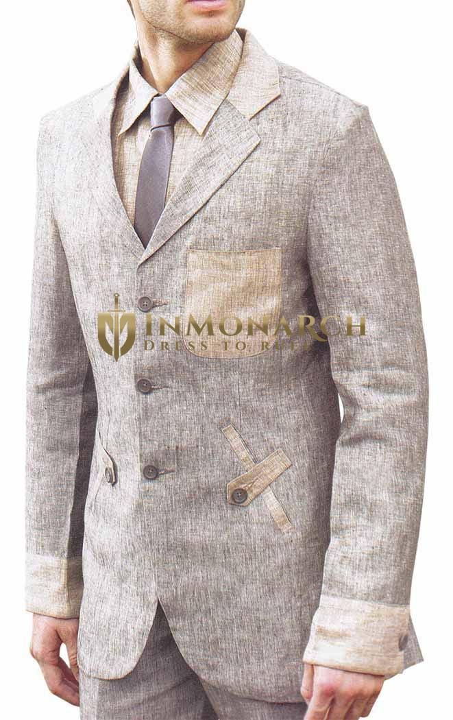Mens Beige Linen Suit Astonishing 3 Button