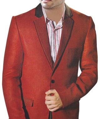 Mens Red Linen 2 Pc Suit One Button