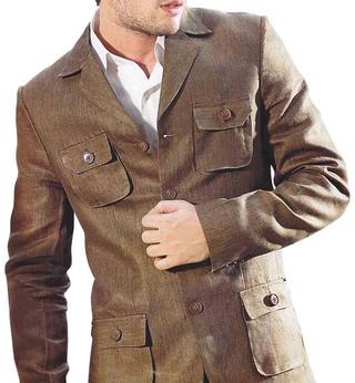 Mens Brown Linen 3 Pc Suit Safari 4 Pocket