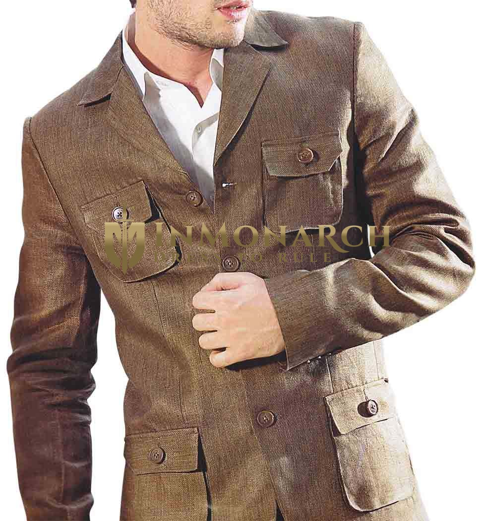 Mens Brown Linen 3 Pc Suit Safari 4 Pocket