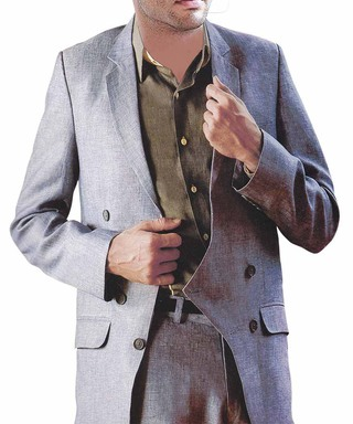 Mens Gray Linen Suit Groom Ceremonial 3 Button