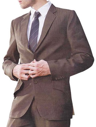 Mens Brown Linen 4 Pc Suit Two Button