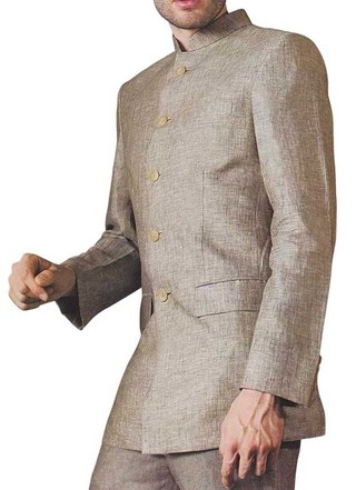 Mens Tan Linen 2 Pc Suit Decent Engagement