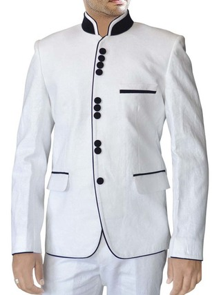 Mens White Linen 2 Pc Suit Black Piping