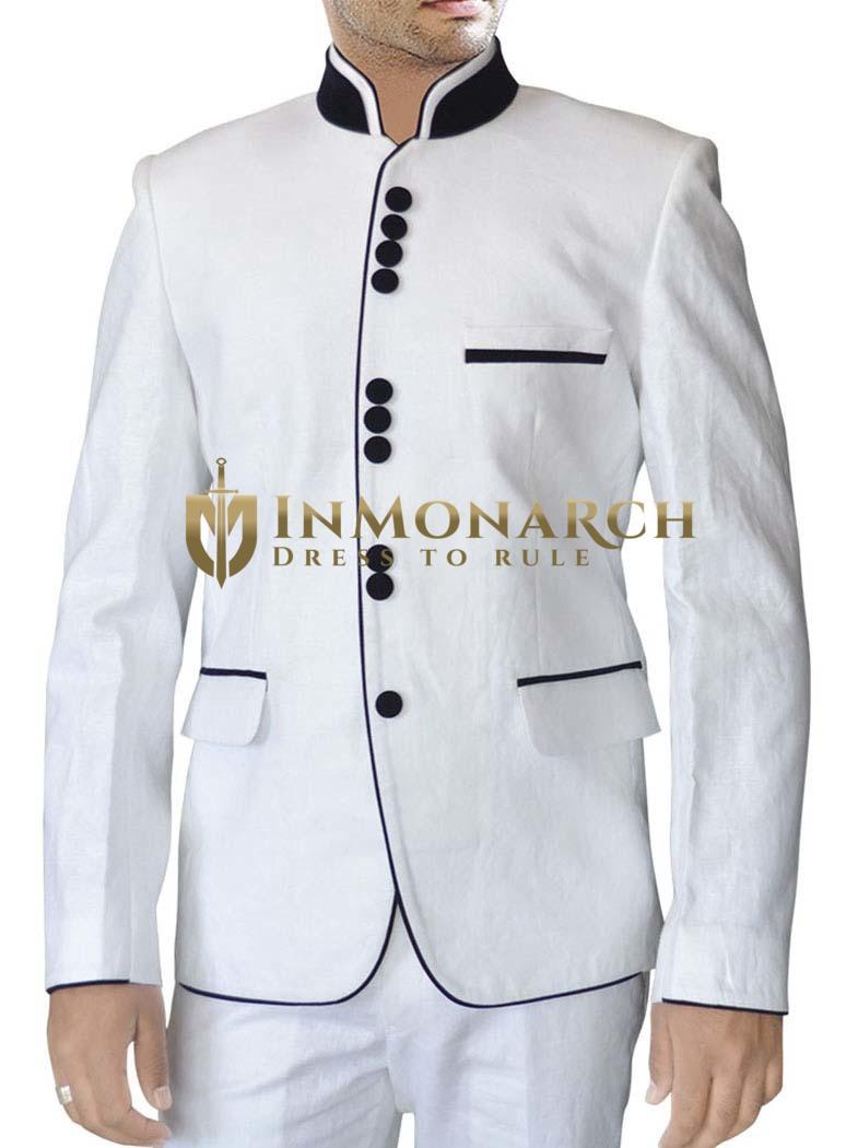 Mens White Linen 2 Pc Suit Black Piping