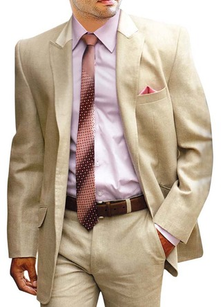 Mens Tan Linen 5 Pc Suit Traditional Style