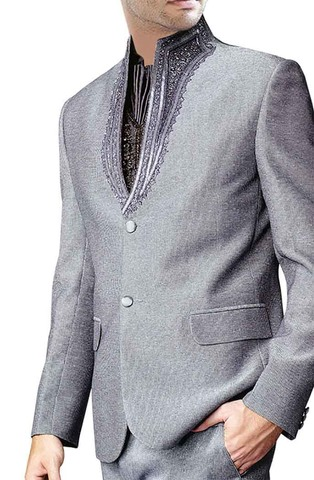Mens Sharkskin 4 pc Party Wear Suit High Neck