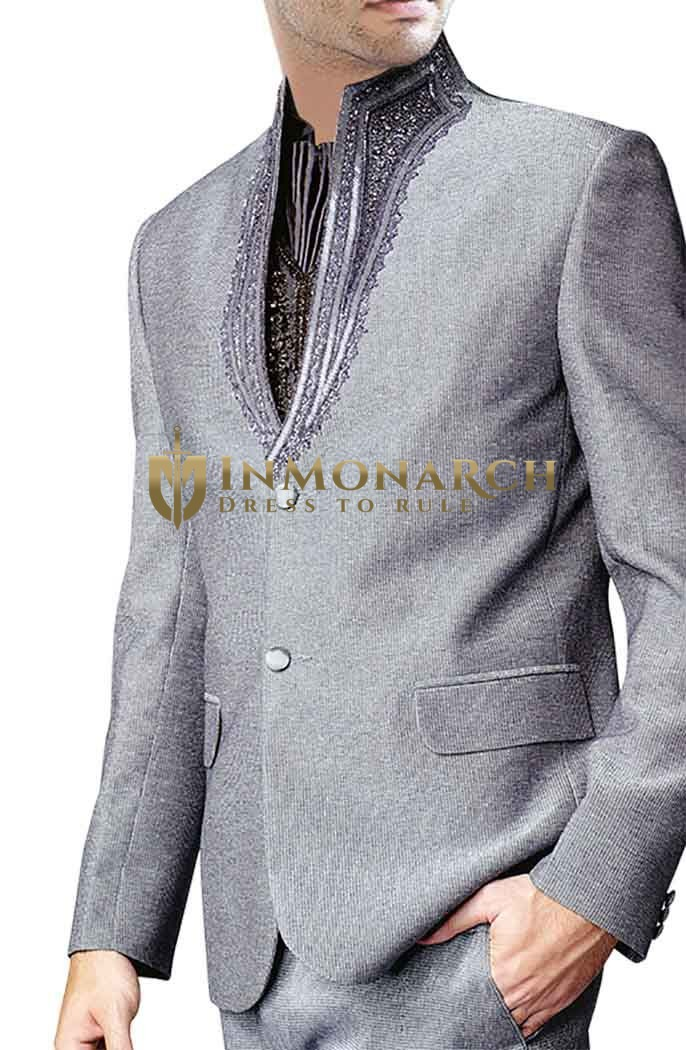 Astonishing Sharkskin High Neck 4 pc Party Wear Suit