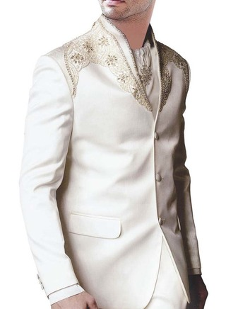 Mens Cream Party Wear 4 Pc Suit Embroidered