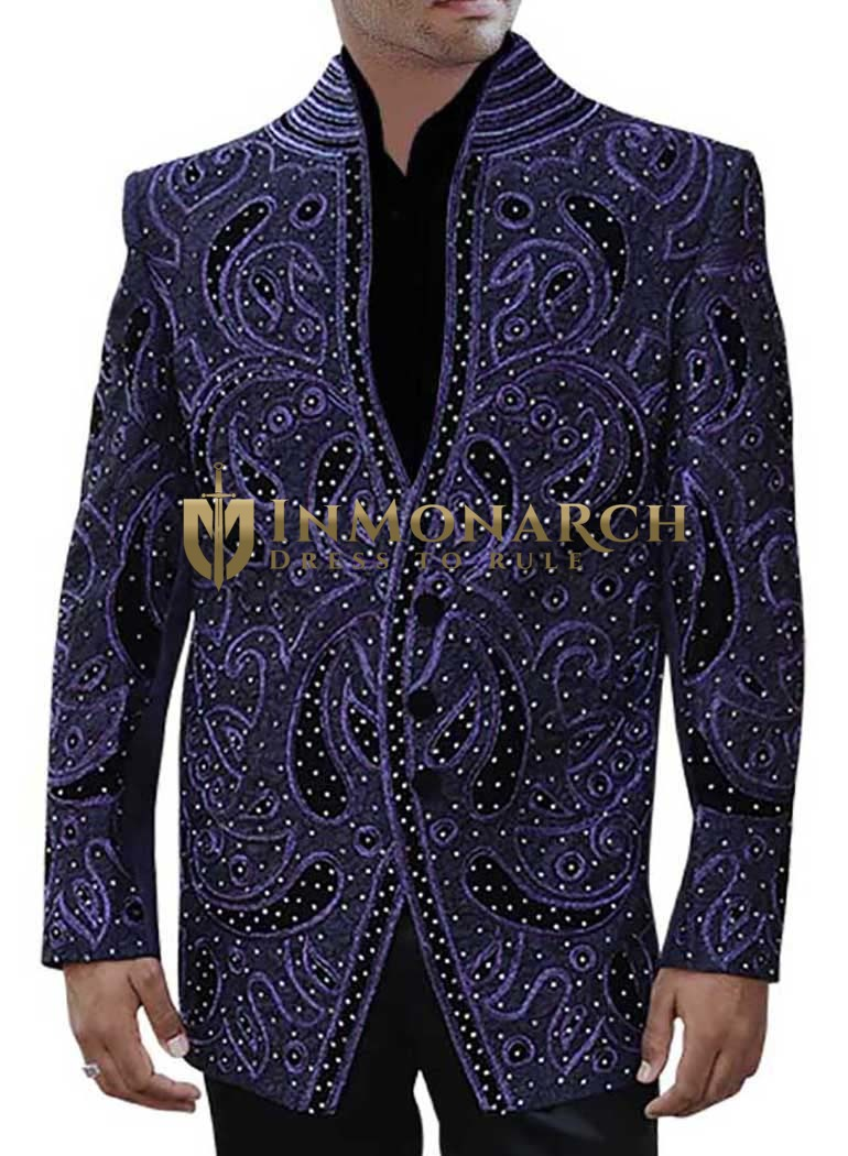Groom Designer Purple Party Wear 3 pc Suit