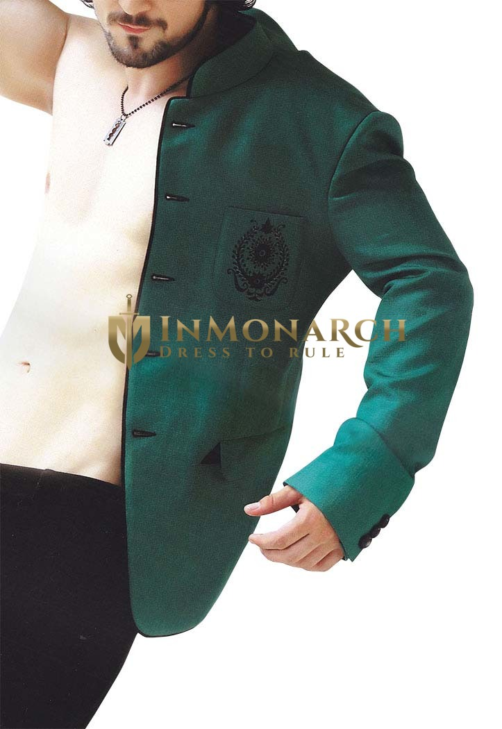 Mens Teal Blue Party Wear 2 pc Tuxedo Suit with pocket Embroidery