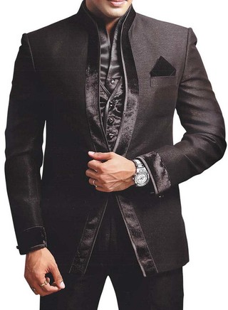 Mens Black 5 pc One Button Party Wear Suit
