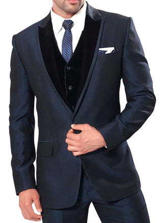 Mens Bluish Gray 6 Pc Party Wear Tuxedo Suit