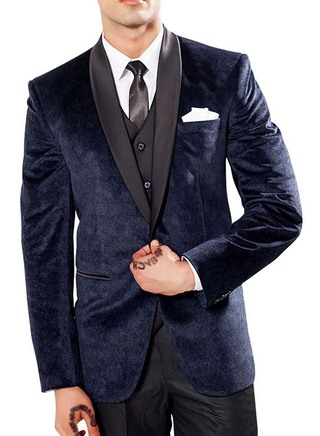 Mens Navy Blue 6 Pc Party Wear Suit Shawl Collar