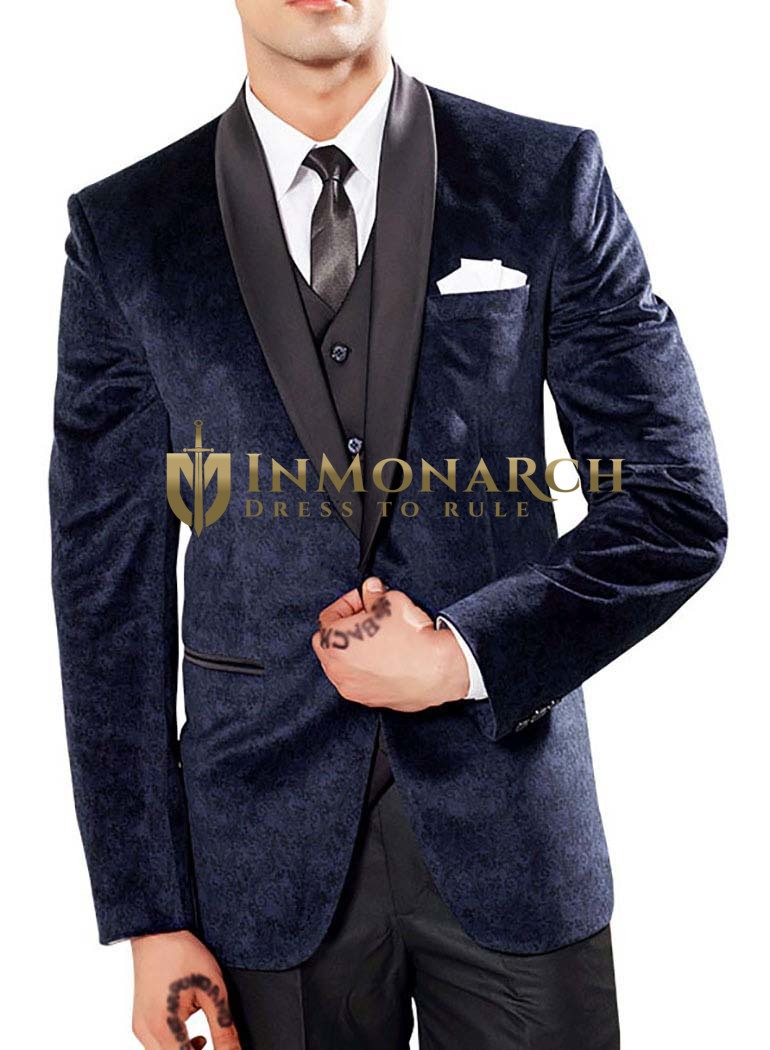Vibrant Navy blue 6 Pc Party Wear Tuxedo Suit